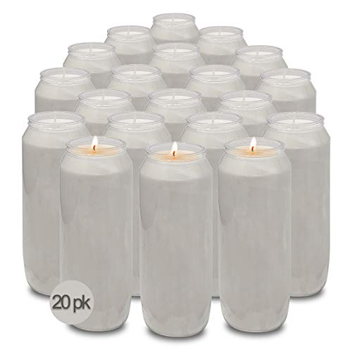 Hyoola 9 Day White Memorial Candles - 20 Pack Grave Candles for Religious, Memory, Vigil and Emergency Use - 100% Vegetable Oil Wax in Plastic Jar Container