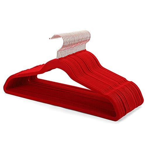 Smartor Red Velvet Hangers 50 Pack Felt Hangers Non Slip Rose Gold Hook Flocked Hangers Heavy Duty Adult Hanger for Coat Suit