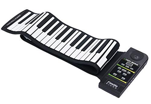 Icegrey Elektronische Klavier Aufrollen 88 Tasten Silikon Tastatur Faltbar mit Fußpedal Schwarz und weiß Einheitsgröße
