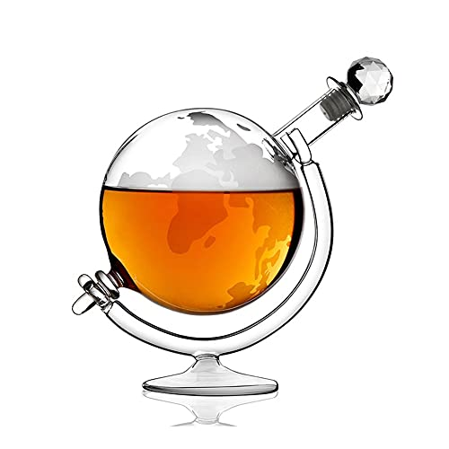 shiqi 1000ml Creativo 3D Globo Cristal Vino Vino decantador Cristal Rojo Vino decantador Hecho a Mano Ajuste para Vino Brandy Whisky con Estante de Vino (Color : Clear)