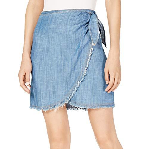 Sadie & Sage Womens Tencel Blend Faux-Wrap Denim Skirt Blue XL
