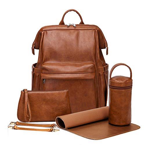 HFTYCC Bolsa de pañales de cuero PU para bebé, mochila para mamás, bolsa de pañales de gran capacidad, bolsa impermeable para cochecito de maternidad para mamá con accesorios