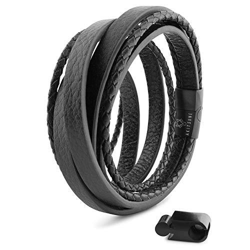 Akitsune Dark Matter Synthetisches Lederarmband   Magnetverschluss aus Edelstahl - Geflochtenes Männer Herren Armband inkl. schöner Schmuckschachtel - Schwarz-Schwarz - 17cm
