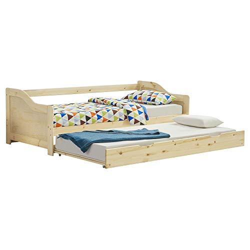 [en.casa] Tandembett 2X 90x200cm Ausziehbett Doppelt Sofabett mit Lattenrost Funktionsbett Naturholz Schlafsofa Gästebett Kojenbett Tagesbett