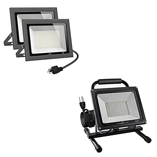 GLORIOUS-LITE 150W LED Flood Light 2 Pack & 50W LED Work Light