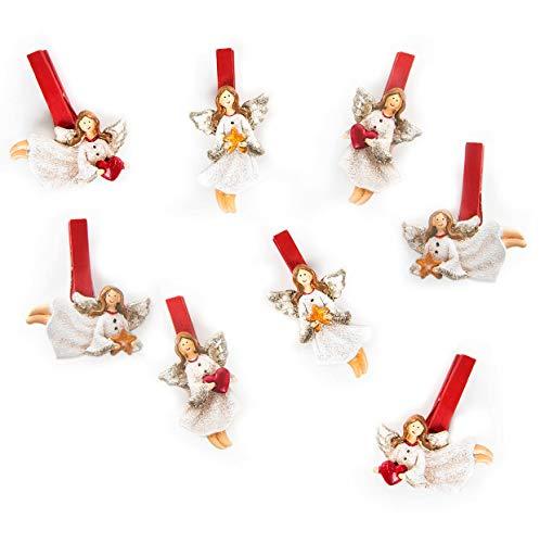 """8 weihnachtliche Holzklammern """"Engel mit Herz"""" (je 7 cm); zur Dekoration zu Weihnachten, auch perfekt als kleines Geschenk zum Wichteln oder als Mitbringsel"""