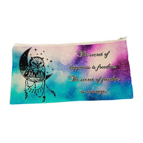 CreaTu Trousse à maquillage - Hibou - Personnalisée, fabriquée en Italie (14 x 22 cm)