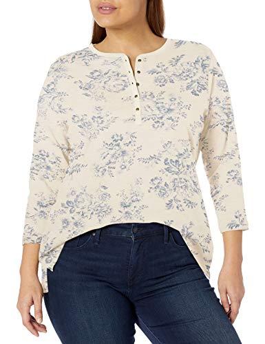 Chaps Women's Plus Size 3/4 Sleeve Crewneck Henley Shirt, Cream/Blue, 0X
