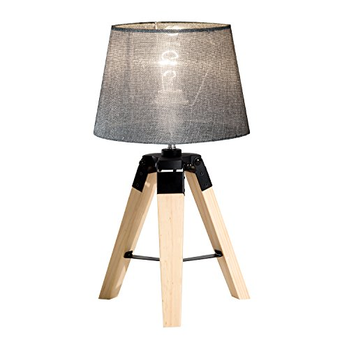 HOMCOM Wooden Tripod Table Lamp for Side, Desk or End Table with E27 Bulb Base(Grey Shade)