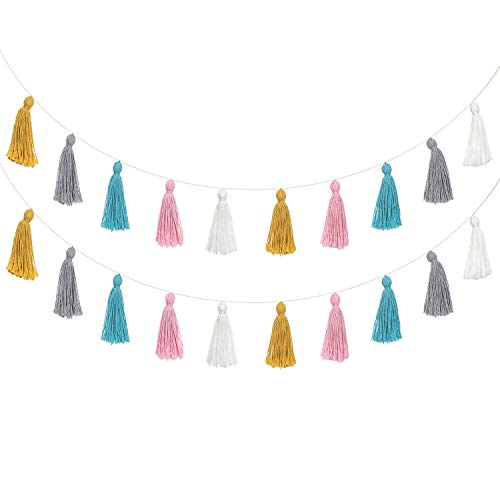 Mkono 2 Pack Cotton Tassel Garland Pastel Banner Colorful Party Backdrop Christmas Decorative Wall Hangings Llama Decorations for Bedroom,Nursey, Dorm Room,Baby Shower, Girls Gift Boho Decor, Multi