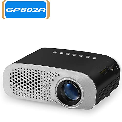 Docooler GP802A Projector Mini Portable 100 Lumen Proyector de Video LED con Altavoz Incorporado Compatible con Interfaz HD/VGA/AV/USB/SD de 3,5 mm para Cine en casa