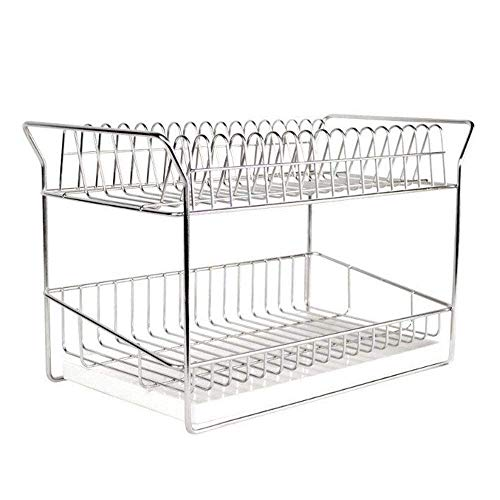 DDEHS Professional Dish Rack - Stainless Steel - Fully Customizable - Microfiber Mat Included - Modern Design - Large Capacity