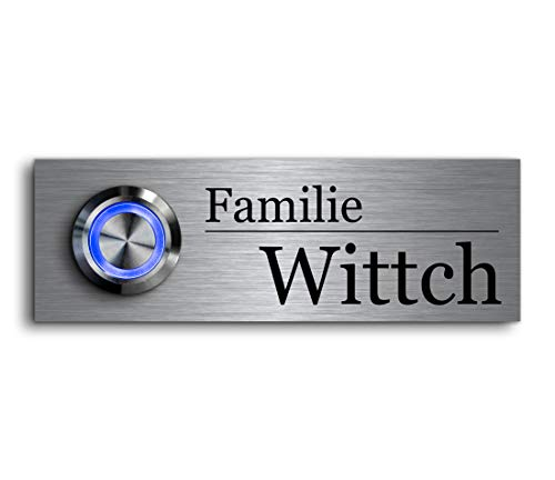 CHRISCK Design - roestvrij stalen deurbel met gravure naar wens LED-verlichting en motieven 9x3 cm belknop naam Model: Wittich
