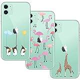 shumeifang [3 Pack] Funda iPhone 11, Funda Protectora de Silicona Transparente Ultrafina Suave Funda de TPU con Linda Caricatura Patrón, para iPhone 11 - Flamingo & Jirafa & Pingüino