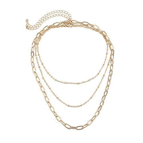 Harilla Señoras Gilrs Collar de múltiples capas Collar largo colgante cadena gargantilla Collar Bar colgante
