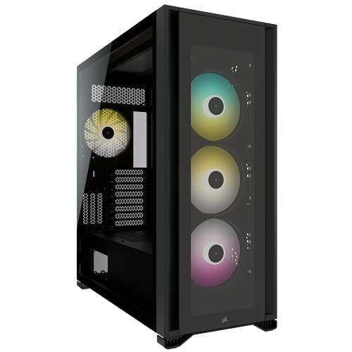 Corsair iCUE 7000X RGB Chasis para PC Inteligente ATX Full-Tower, Tres Paneles de Cristal Templado, Cuatro Ventiladores RGB de 140 mm Incluidos, Espacioso Interior, Negro