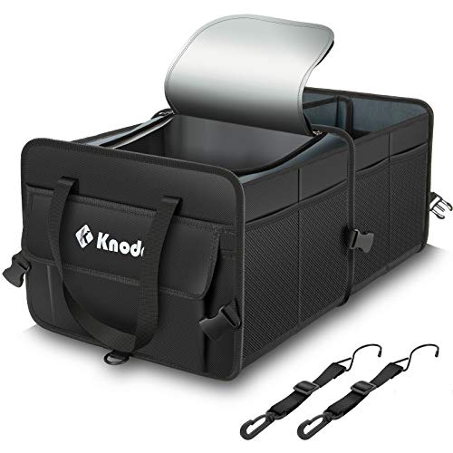 Knodel Sturdy Car Trunk Organizer with Premium Insulation Cooler Bag, Heavy Duty Collapsible Trunk Storage Organizer for Car, SUV, Truck, or Van (2 Compartments, Black)