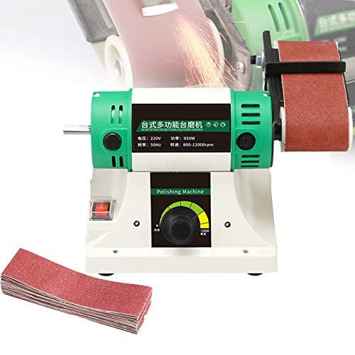 EnweMahi Mini Lijadora Bricolaje,Máquina Pulidora Portátil,950W,800-10000 Ajuste Velocidad Rectificadora Cinta Abrasiva para Madera, Metal, Pulido Jade,Right