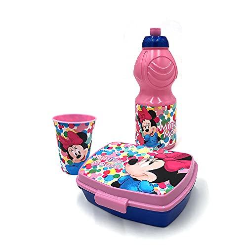 Set merienda fiambrera plástico botella de 400 ml 1 taza 1 recipiente (minnie)
