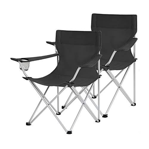SONGMICS Campingstühle, 2er Set, Klappstühle, Outdoor-Stühle mit Armlehnen und Getränkehalter, stabiles Gestell, bis 120 kg belastbar, schwarz GCB01BK