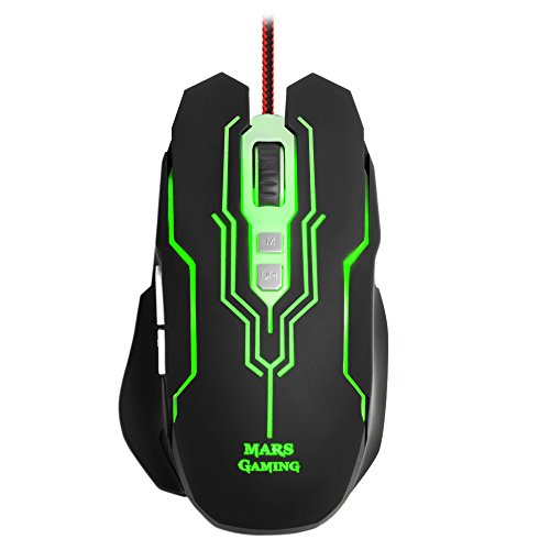 Mars Gaming MM216 - Ratón gaming para PC (5000 DPI, sensor óptico Avago, iluminación LED 6 colores, 7 botones gaming, ergonómico, conector USB), color negro