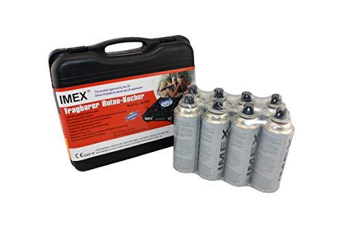 i-mex IMEX Camping Gaskocher Set Butan-Kocher Klein im Tragekoffer mit 8 Gaskartuschen