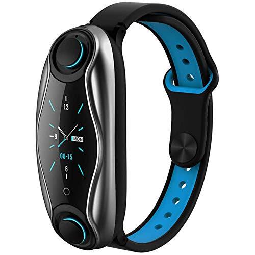 LTLGHY Inteligente Reloj 2 En 1 Pulsera Actividad con Auriculares Inalámbricos Bluetooth, Impermeable IP67 Smartband con Pulsómetro Y Tensiómetro Podómetro,Azul