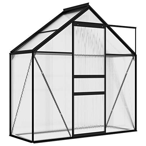 vidaXL Gewächshaus UV-beständig Wärmeisoliert Treibhaus Tomatenhaus Frühbeet Garten Pflanzenhaus Gartenhaus Anthrazit Aluminium 1,33m²