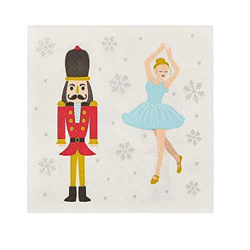 Cocktail Napkins - 100-Pack Disposable Paper Napkins, Christmas Holidays Dinner Party Supplies, 3-Ply, Nutcracker and Ballerina Design, White, Unfolded 10 x 10 Inches, Folded 5 x 5 Inches