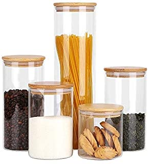 RORA Glass Food Storage Jars Containers with Airtight Bamboo Lids Set of 5 Kitchen Glass Canisters Set For spaghetti, Coff...