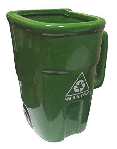 Tazza a forma di bidone con simbolo del riciclo, colore: verde