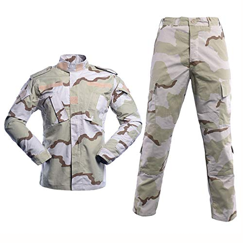 LANBAOSI Men's Tactical Jacket and Pants Military Camo Hunting ACU Uniform 2PC Set