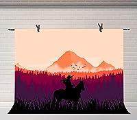 HD 7x5ftの自然の風景の背景夕日の写真の背景の山々部屋の壁画BJQQFU42の馬と銃の騎士ハンター