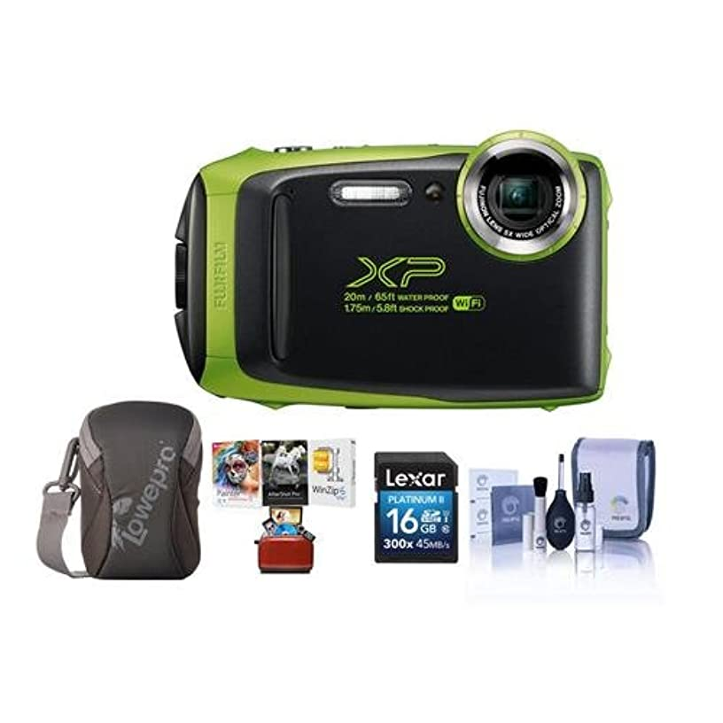 Fujifilm FinePix XP130 16.4MP Digital Camera, 5X Optical Zoom, Lime Green - Bundle with 16GB SDHC Card, Camera Case, Cleaning Kit, Mac Software Package