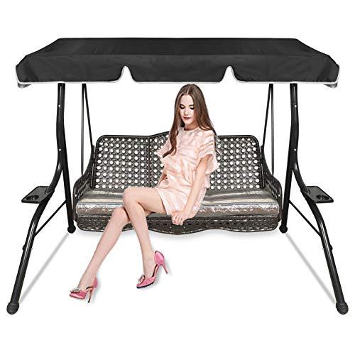 Copertura di ricambio per dondolo per sedia a dondolo da 3 posti, copertura per dondolo da giardino, copertura per amaca da giardino, protezione impermeabile e UV (nero, 164 x 114 x 15 cm)