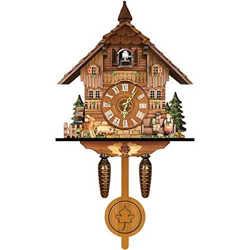 Hpory Reloj de pared de Kuckuck, de madera, mecanismo de cuarzo, reloj de cuco, vintage, reloj de cuco de la Selva Negra, reloj de cuco, reloj de péndulo para salón, decoración de pared, 46 cm x 25 cm