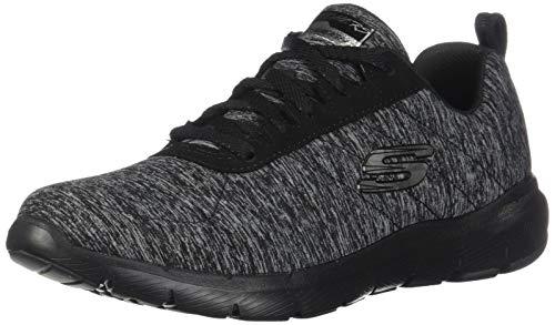 Skechers Damen Flex Appeal 3.0 Insiders-13067 Sneaker, Black & Gray Mesh Black Trim, 41 EU