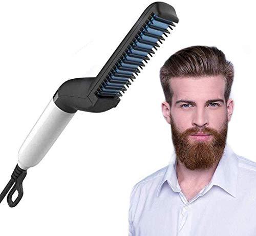 Alisador de Barba Peine,Plancha de barba eléctrica para hombres- Peine de peinado rápido profesional para cabello de barba sin frizz - Control de calefacción iónico de cerámica