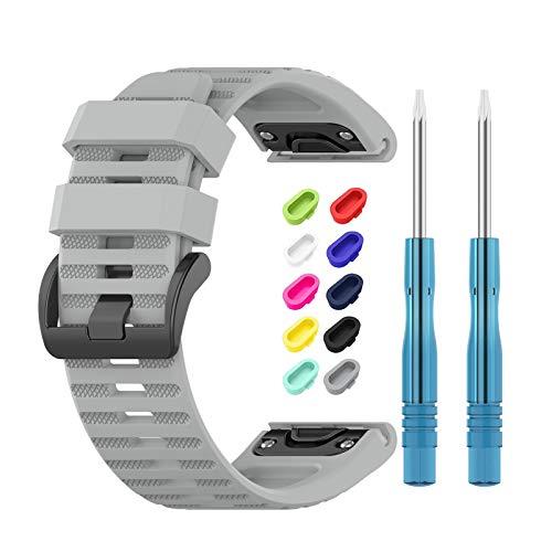 Newcool Correa para reloj Garmin Fenix 6 Band 22MM Quickfit para Fenix6 Pro/Fenix 6 Solar/Fenix 5/Fenix 5 Plus Smartwatches de silicona suave + 10 tapones de polvo coloridos