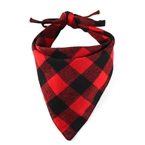 CXQ Katzen-Doppelschicht-Schal-Haustier-Dreieck-Schal kleidet großen Hundeplaid-Schal (Color : Red black)