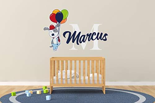 Wall Art Aangepaste Naam & Aanvankelijk Grappige Hond met Ballonnen - Muursticker voor Babykamer Decoraties - Muursticker voor Home Bedroom R Sep 1 Eenvoudig aan te brengen
