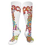 Calcetines novedosos, signo de paz con flores coloridas y arco iris, composición festiva, calcetines para mujeres y hombres, ideales para correr, atletismo, senderismo, viajes, vuelo
