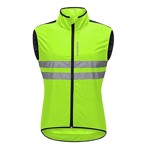 Gilet Ciclismo Uomo Leggero e Antivento Outdoor Sport Accessori di Ciclismo, Corsa, Jogging - Verde, L