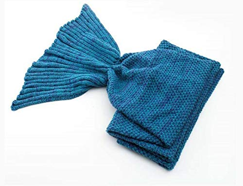 ZHANGYY Mermaid blanket woolen knitted mermaid blanket children's fish tail blanket, deep lake blue, 140 * 70cm