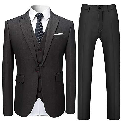 Allthemen Herren Slim Fit 3 Teilig Anzug Modern Sakko für Business Hochzeit Party Grau Large