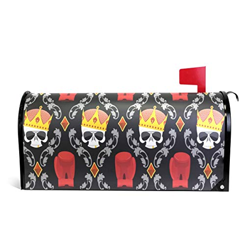Alaza(mailbox cover) WOOR Totenkopf-Krone und Boxhandschuhe, magnetisch, Standardgröße, 45,7 x 52,1 cm 25.5x20.8 inch Oversized Multi