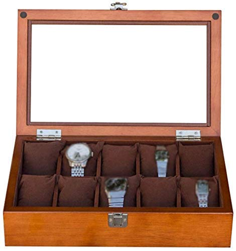 NBVCX Wohnaccessoires Uhruhr aus Holz Schmuck Aufbewahrungsvitrine Armbandablage mit 10 Aufbewahrungskissen Manschettenknopf Organizer mit Metallverschluss und oberem Glas (braun/schwarz)