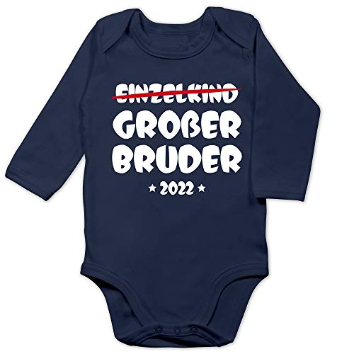 Shirtracer Geschwister Bruder und Schwester - Einzelkind Großer Bruder 2022-6/12 Monate - Navy Blau - grosser Bruder - BZ30 - Baby Body Langarm