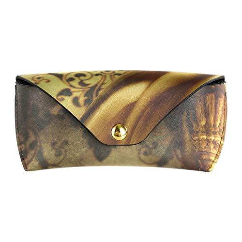 XiangHeFu kantoor PU leder gouden gordijn draagbare bril tas zonnebril geval bril tas multifunctioneel