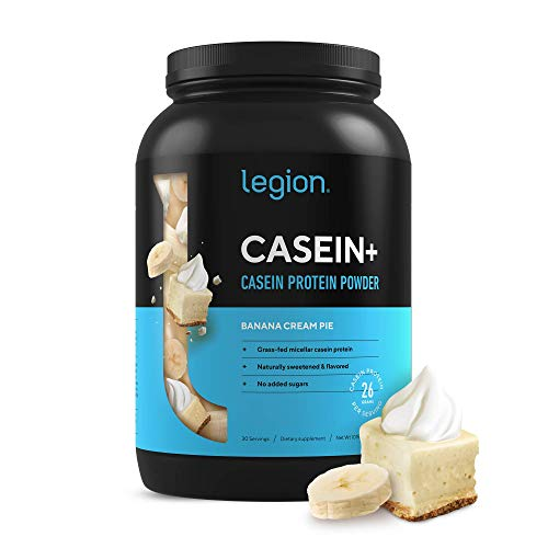Legion Casein+ Chocolate Pure Micellar Casein Protein Powder - Non-GMO Grass Fed Cow Milk, Natural Flavors & Stevia, Low Carb, Keto Friendly - Best Pre Sleep (PM) Slow Release Muscle Recovery 2lb